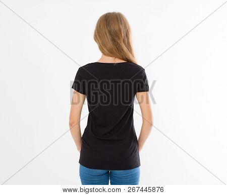 Front And Back Views Of Young Caucasian Girl Woman In Black Stylish T-shirt On White Background. Moc