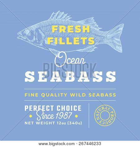 Fresh Fillets Premium Quality Label . Abstract Vector Seabass Fish Packaging Design Layout. Retro Ty