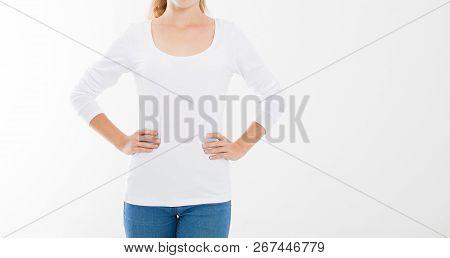 Young Caucasian, Europian Woman, Girl In Blank White T-shirt. T Shirt Design And People Concept. Shi