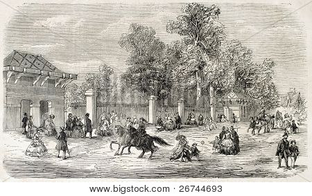 Jardin d'Acclimatation entrance, Paris. Created by Provost, published on L'Illustration, Journal Universel, Paris, 1860