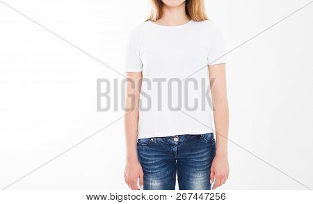 Portrait Of Beautiful Sexy Woman In Tshirt. T-shirt Design, People Concept - Closeup Of Woman In Whi