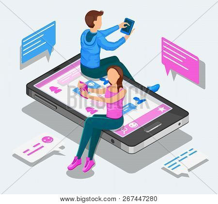 Online Dating And Virtual Relationships Isometric Concept. Teenagers Are Chatting Sitting On A Smart