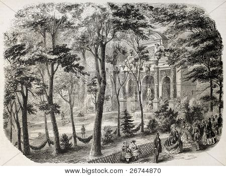 Luxembourg gardens fountain old illustration. Created by Provost, published on L'Illustration, Journal Universel, Paris, 1860
