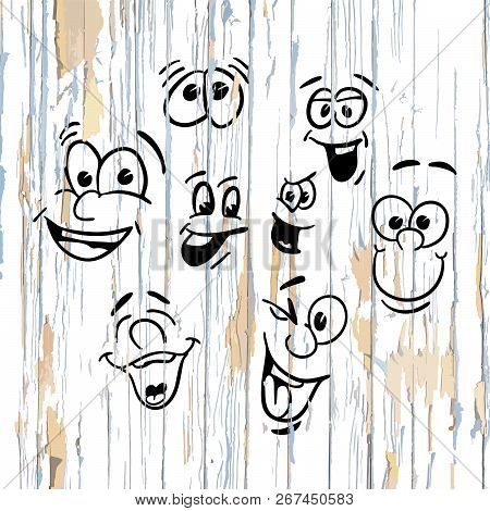 Smiling Faces Drawings On Wooden Background. Vector Illustration Drawn By Hand.