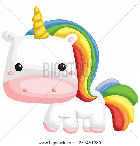 A Vector Of A Cute Rainbow Colored Unicorn