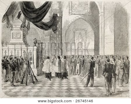 Solferino battle victims funereal mass in Sante-Marie church in Toulon. Created by Letuaire, published on L'Illustration, Journal Universel, Paris, 1860