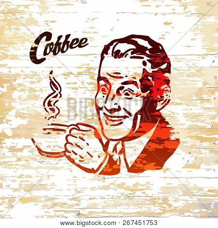 Vintage Coffee Men Icon On Wooden Background. Vector Illustration Drawn By Hand.