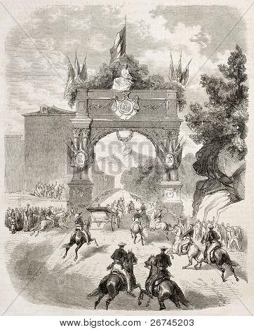 Empress Eugenie arrival at Eaux-Bonnes. Created by De Velasco, published on L'Illustration, Journal Universel, Paris, 1860