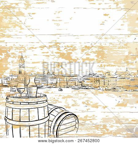 Vintage Wine Barrel On Wooden Background. Vector Illustration Drawn By Hand.