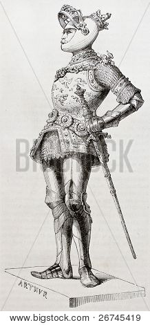 King Arthur old illustration. Created by Forest after statue (kept in Court Church, Innsbruck) of Durer and Vischer the Elder.  Published on Magasin Pittoresque, Paris, 1844