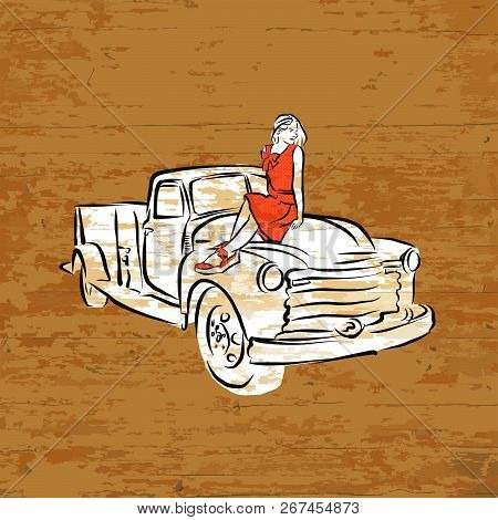 Vintage Pickup Truck On Wooden Background. Vector Illustration Drawn By Hand.