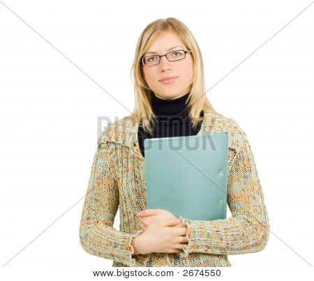 Cheerful Businesswoman With Glasses And Folder