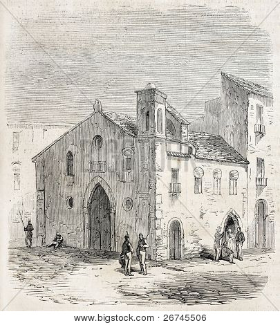 St Stephen church, burial of French soldiers killed during Sicilian Vespers. Created by Lhernault,  published on L'Illustration, Journal Universel, Paris, 1860