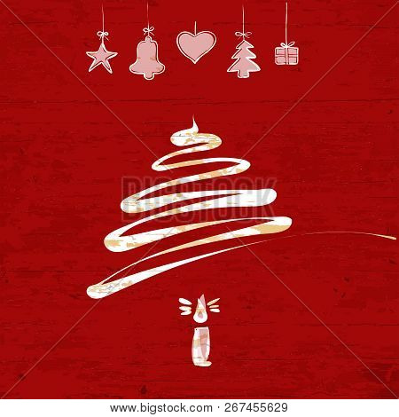 Christmas Tree Drawing On Wooden Background. Vector Illustration Drawn By Hand.