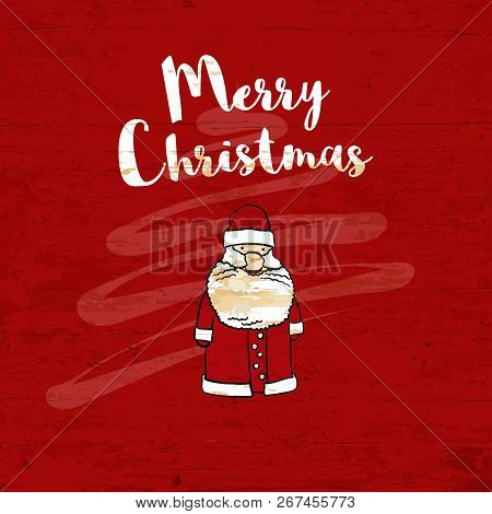Merry Christmas Lettering On Wooden Background. Vector Illustration Drawn By Hand.