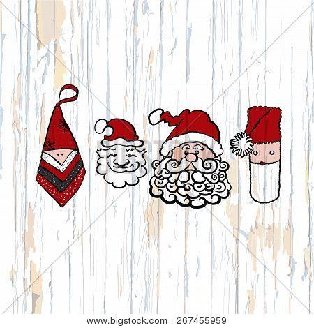 Santa Claus Sketches On Wooden Background. Vector Illustration Drawn By Hand.