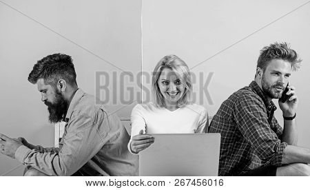 Company Friends With Mobile Gadgets Laptop. Modern Technology. Men And Woman Networking By Devices I