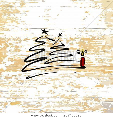 Christmas Tree With Candle Sketch On Wooden Background. Vector Illustration Drawn By Hand.