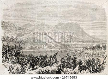 Battle of Castelfidardo old illustration, Italy. Created by Grandsire, published on L'Illustration, Journal Universel, Paris, 1860