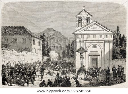 Caserta, Italy: Neapolitans troops repulsed. Created by Mettais after Duvaux and Girin, published on L'Illustration, Journal Universel, Paris, 1860