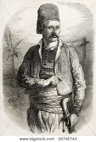 Yuseph Coram-Bey old engraved portrait, chief of Joun maronite camp. Created by Worms, published on L'Illustration, Journal Universel, Paris, 1860
