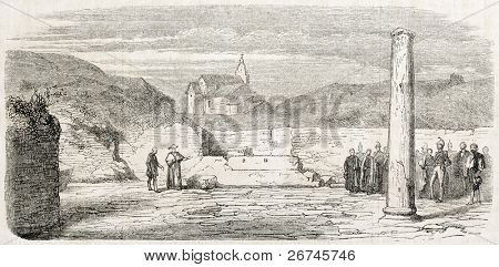 Pope Pio IX visiting Ostia Antica archaeological excavations. Created by Montalant, published on L'Illustration, Journal Universel, Paris, 1860