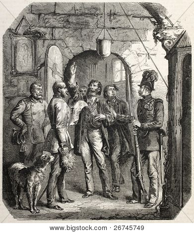 Liberation of political prisoners at Josefstadt by order of the Emperor. Created by Kanitz, published on L'Illustration, Journal Universel, Paris, 1860