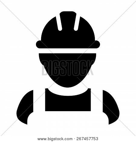 Safety Worker Icon Vector Male Construction Service Person Profile Avatar With Hardhat Helmet In Gly