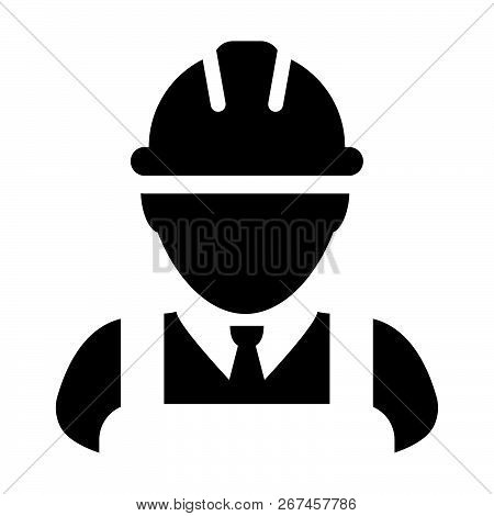 Employee icon vector male construction worker person profile avatar with hardhat helmet in glyph pictogram illustration poster