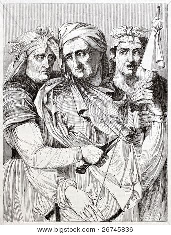 The three Parcae, after painting of Michelangelo kept in Palazzo Pitti, Florence. Published on Magasin Pittoresque, Paris, 1844