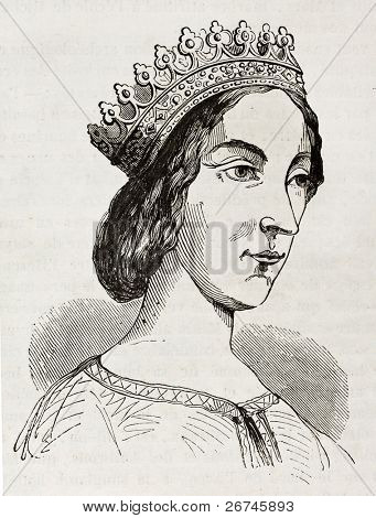 Jeanne de Laval old engraved portrait, second wife and queen consort of Rene of Anjou. After drawing of 15th century, published on Magasin Pittoresque, Paris, 1844