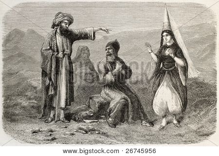 Maronite costumes old illustration. By unidentified author, published on L'Illustration, Journal Universel, Paris, 1860
