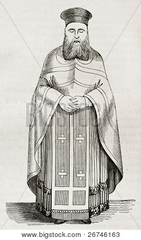 Old illustration of Greek orthodox priest vestment. Created by Durand, published on Magasin Pittoresque, Paris, 1844