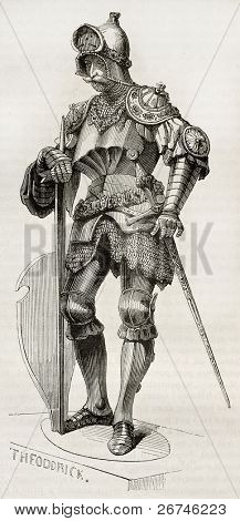 Theodoric statue old illustration, Created by Forest, published on Magasin Pittoresque, Paris, 1844