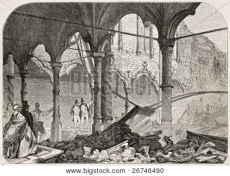 Antwerp exchange destroyed by fire in 1858. Created by Ferat after photo of Dupont, published on L'Illustration, Journal Universel, Paris, 1858