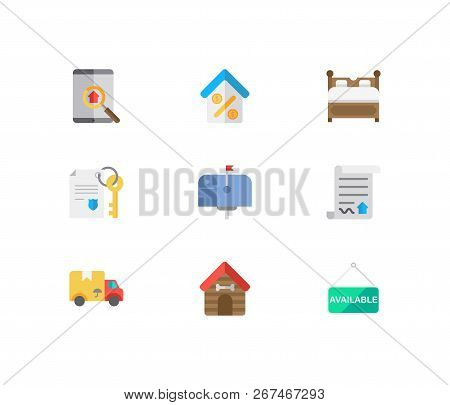 Property Icons Set. Animal House And Property Icons With Property Paper, Mail Box And Home Loan. Set