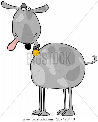 Illustration Of A Goofy Looking Spotted Gray Dog With Its Tongue Hanging Out.