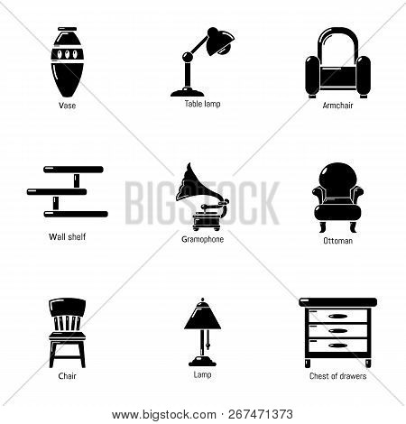 Antique Room Icons Set. Simple Set Of 9 Antique Room Vector Icons For Web Isolated On White Backgrou