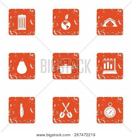 Campground Icons Set. Grunge Set Of 9 Campground Vector Icons For Web Isolated On White Background