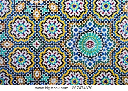 Islamic Mosaic Moroccan Style Useful As Background. Moroccan Mosaics Are Well Known In The World