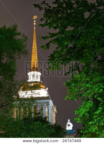 Gorgeous night view at Admiralty in Saint Petersburg, Russia