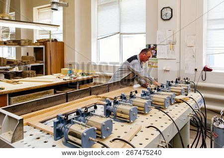 Moscow, Russia, 08.05.2018: Furniture Factory. Shop For Wood Processing And Furniture Manufacturing.