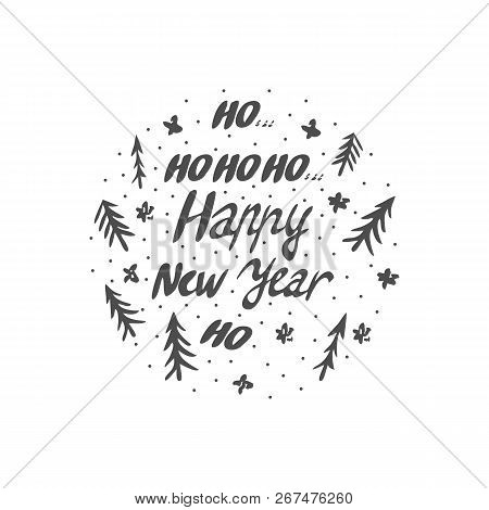 Happy New Year Phrase. Greeting Card Design With Elements Drawn In A Circle. Vector Illustration.
