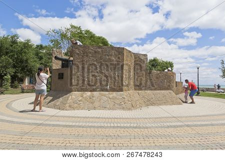 Evpatoria, Crimea, Russia - July 1, 2018: Tourists Take Pictures At The Suvorov Redoubt On The Teres
