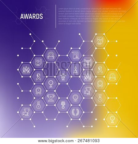 Awards Concept In Honeycombs With Thin Line Icons: Trophy, Medal, Cup, Star, Statuette, Ribbon. Mode