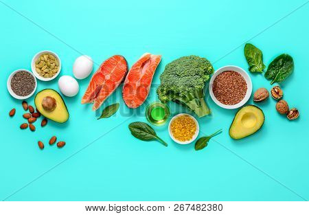 Healthy Food Products Which Are Rich Source Of Omega3 Fats, Healthy Eating Concept, Blank Space For