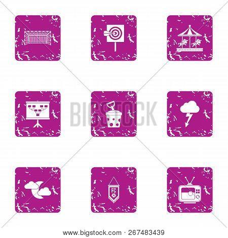 Night Parkland Icons Set. Grunge Set Of 9 Night Parkland Vector Icons For Web Isolated On White Back