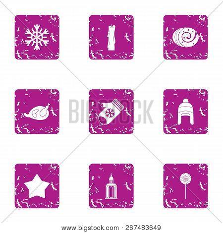 Winter Mystery Icons Set. Grunge Set Of 9 Winter Mystery Vector Icons For Web Isolated On White Back
