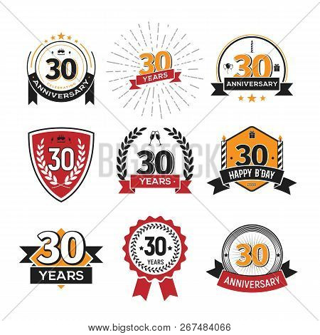 Collection Of Retro Thirty Anniversary Logo. Set Of Isolated Vintage Icons Of 30 Th Years Celebratin