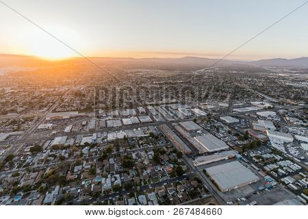 Sunset aerial view towards Lankershim Blvd in the Sun Valley neighborhood of the Fernando Valley in Los Angeles, California.